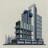 Яков Чернихов: 1. Дворец научно-исследовательской лаборатории легкой индустрии. Компактное явно-конструктивное сооружение с выраженной устойчивостью. Трехцветная гамма окраски здания в холодных тонах.