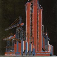 Яков Чернихов: 6. Музыкально-ритмическое, связно-скомплектованное сооружение в пространственном разрешении. Конструктивная игра объемов и стержней в согласной гармонии с цветовой иллюминовкой.