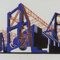 Яков Чернихов: 9. Мощная грандиозная открытая механическая установка из монолитных спаянных элементов. Сочетание объемов в объединении с фермовыми пространственными конструкциями.