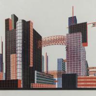 Яков Чернихов: 14. Архитектурная композиционная надуманность из многоразличных составляющих. Усложненная комбинация различных объемов сооружений с явной цветовой декоративностью.