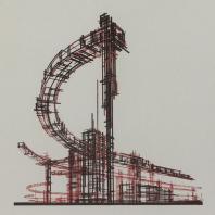 Яков Чернихов: 16. Пространственная театральная композиция из конструктивно объединенных линеарных элементов с явными динамическими признаками.