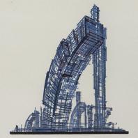 Яков Чернихов: 19. Композиция линейного порядка сочетания кривых и прямых. Демонстрация величественных масс с выраженной динамикой веса—тяжести.