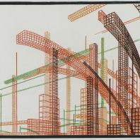 Яков Чернихов: 20. Композиционное измышление сложнейшего сочетания объемов в линеарном отображении. Сильно-выраженная пространственность. Теплая гамма раскраски.