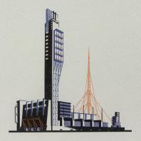Яков Чернихов: 24. Стройная гамма объединенных зданий с отображенной конструктивностью. Показательное одновременное объединение устремленности и статичности форм. Упрощенный способ иллюминовки сооружений.