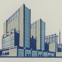 Яков Чернихов: 32. Показательная иллюстрация компактной архитектурной задачи объединения зданий в одно целостное сооружение. Согласование упрощенных форм с величественностью.