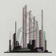 Яков Чернихов: 36. Выразительная демонстрация пространственных стержневых конструкций совместно с простейшей формы зданий спокойного характера.