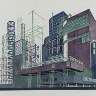 Яков Чернихов: 37. Композиция сложного сочетания объемов сооружений с решетчато-пространственными конструкциями. Устойчивая гамма составляющих элементов сконцентрированного порядка.