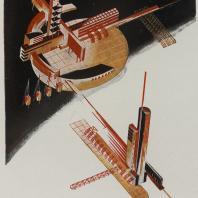 Яков Чернихов: 46. Объемно-плановая показательная архитектурная композиция. Демонстрация объединенных элементов с выраженной пространственностью.