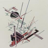 Яков Чернихов: 47. Объемно-плановая архитектурная композиция в аксонометрическом изображении. Искусственно-утрированный прием отображения сооружений с особой точки зрения. Простейшая цветовая гамма тонов.