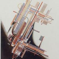 Яков Чернихов: 52. Аксонометрическое изображение механизированного химического комбината с выраженной магистральностью. Условный прием графического отображения. Пример четкого удробленного изображения.