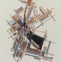 Яков Чернихов: 55. Аксонометрическое изображение функционально-разрешенного завода-города с уточненной магистралью. Упрощенный, условный способ отображения в некотором сложном сочетании групп зданий.