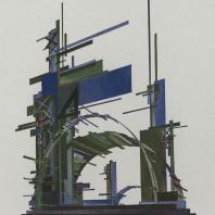 Яков Чернихов: 59. Пространственно-сложная театральная цветовая композиция из сочетания изогнутых поверхностей и прямоугольных плоскостей.