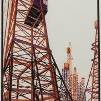 Яков Чернихов: 60. Цветная линейно-графическая композиция из ряда стержневых вышек. Выявление пространственности с помощью жестких конструкций.