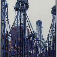 Яков Чернихов: 61. Архитектурная композиция деревянных вышек. Заведомо надуманная холодная гамма окраски участвующих элементов. Демонстрация ажурности конструктивных элементов помощью нагроможденных частей.