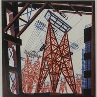Яков Чернихов: 63. Жесткая упрощенная конструкция металлических и железобетонных элементов с цветовой иллюминовкой ограниченного колорита красок.