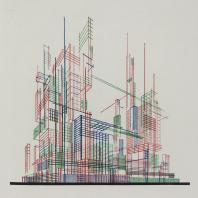 Яков Чернихов: 64. Показательная демонстрация перспективного изображения скомплектованных сооружений с помощью линеарного изображения.