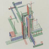 Яков Чернихов: 65. Показательная демонстрация конструктивно-пространственного сочетания сооружений с помощью цветного линеарного изображения.
