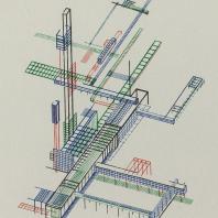 Яков Чернихов: 66. Аксонометрическое изображение функционально связанного конгломерата сооружений с помощью иллюминованного цветного линеарного выражения. Примерное упражнение пространственной задачи.