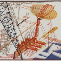 Яков Чернихов: 68. Архитектурная выдумка, показательно иллюстрирующая сложную особую композиционную трактовку изображения. Выявленное пространство. Условное сочетание заранее заданных красок построения.