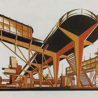 Яков Чернихов: 74. Усложненная комбинация конструктивно-сочлененных ребристых элементов с выраженной пространственностью и динамикой. Теплая цветовая окраска.