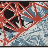 Яков Чернихов: 78. Фантастическая явно-надуманная композиция. Условный способ отображения с заранее надуманными цветовыми контрастами изображения и фона. Упрощенный передний и усложненный задний план.