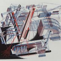 Яков Чернихов: 84. Образцовая архитектурная композиция, демонстрирующая сложнейшее объединение зданий между собою в некоторое цельное сочетание сооружения. Показательная архитектурная цветная графика.