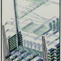 Яков Чернихов: 86. Явно выраженная пространственная архитектурная композиция в аксонометрическом отображении. Спокойная гамма холодных тонов.