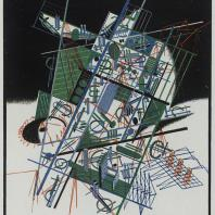 Яков Чернихов: 87. Музыкальная архитектурная композиционная выдумка иллюзорного порядка. Согласованный ритм построения и расцветки изображения.