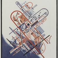 Яков Чернихов: 88. Планово-пространственная архитектурная композиция в аксонометрическом решении. Искусственный графический прием изображения.