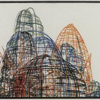 Яков Чернихов: 89. Надуманная сложная пространственная композиция линеарного порядка. Комбинация кривых и прямых с цветовой иллюминовкой смешанного типа.