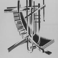 Надуманная композиция в аксонометрическом изображении. Сочетание по горизонтали удлиненных тел прямолинейного и криволинейного характера. Усложненное архитектурно-строительное измышление