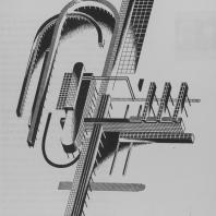 Сложная композиция в аксонометрическом отображении сооружений на столбах. Динамическое конструктивное сочленение элементов