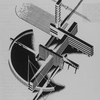 Аксонометрическое изображение объемно-плановой архитектурной композиции. Наглядное конструктивное объединение элементов сооружений удлиненного типа горизонтально-вертикального строения