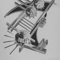 Объемно-плановая архитектурная композиция. Совместное сочетание прямолинейных и криволинейных элементов и сферических тел