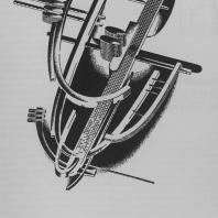 Явно-надуманная архитектурная композиция из сплошных изогнутых элементов в аксонометрическом изображении (второй вариант)