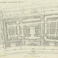 2-й дом СНК в Москве. Генплан (штриховкой показано строительство 1941 г.)