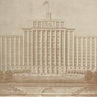 2-й дом СНК в Москве. Центральная часть фасада на Москва реку