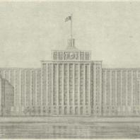 2-й дом СНК в Москве. Фасад на Москва-реку
