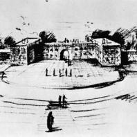 Бухенвальд. Один из эскизов сцены. Бухенвальдского театра. 1952 г. Автор: группа Лингнера — Кремера
