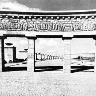Бухенвальд. Улица Нации. Вид через арку входа западной гробницы