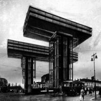 Эль Лисицкий. Горизонтальные небоскребы в Москве (административные здания). Перспектива. 1923—1925