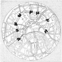 Эль Лисицкий. Горизонтальные небоскребы в Москве (административные здания). Схема размещения зданий на пересечении радиальных улиц с бульварным кольцом. 1923—1925