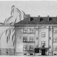 Эскиз фасадов домов, замыкающих Тракторную улицу
