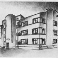Один из первоначальных эскизов жилого дома для Московско-Нарвского района