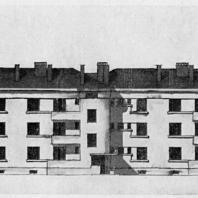 Эскиз фасада трехсекционного дома на Тракторной улице
