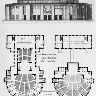 Дворец культуры имени А.М. Горького в Ленинграде. Фасад и планы первого и второго этажей. Второй вариант проекта (симметричный, компактный прием)