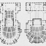 Дворец культуры имени А.М. Горького в Ленинграде. Планы первого и второго этажей. Третий вариант проекта