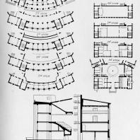 Эскизный проект реконструкции Дворца культуры имени А. М. Горького (1958 г.). Планы и разрезы реконструируемых частей