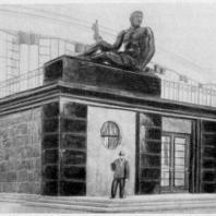 Перспектива входа в театральную часть дома культуры 1939 г. (выполнена худ. В. П. Белкиным)