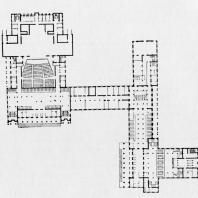 План первого этажа Дома культуры Ижорского завода. Проект 1932—1933 гг.
